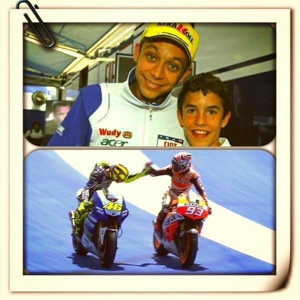 Valentino with his biggest fan, Marc Marquez, who is now beating him.