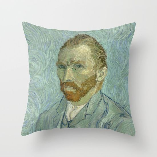 Van Gogh Portrait Throw Pillow #vangogh #dutchart #impressionists #masterofart #vincent #vincentvangogh #art #famousartists #selfportrait