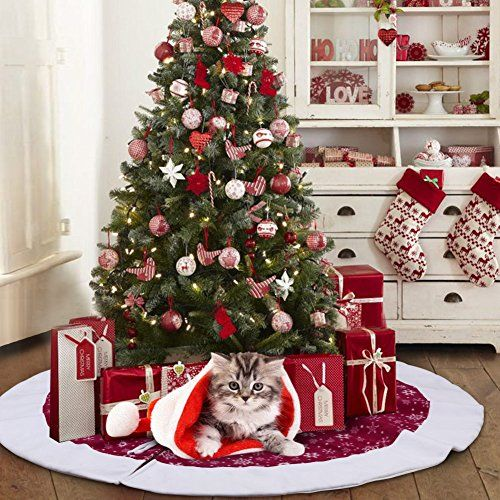 """AerWo 48 Inch Velvet Snowflake Christmas Tree Skirt 2018 Nouvel An Décoration de Noël: 【TAILLE PARFAITE】 48 """"/ 122cm Diamètre est la taille…"""