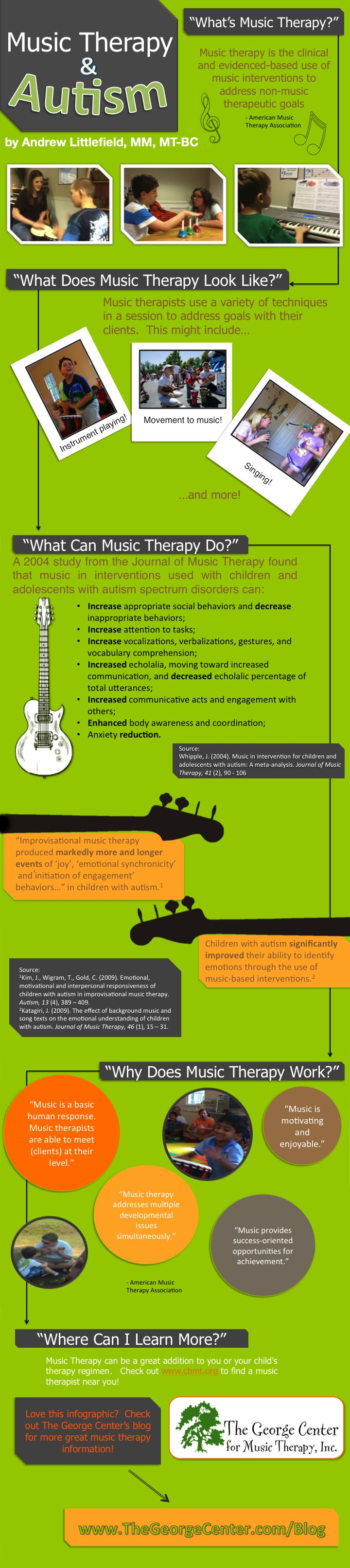 Music Therapy and Autism infographic from The George Center #WestMusic #InspireMyClass-  If only my insurance would cover this.  I truly believe that it would help my son.
