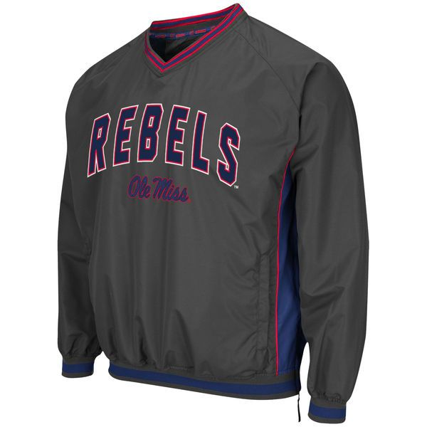 Ole Miss Rebels Colosseum Fair Catch Pullover Jacket - Charcoal - $49.99