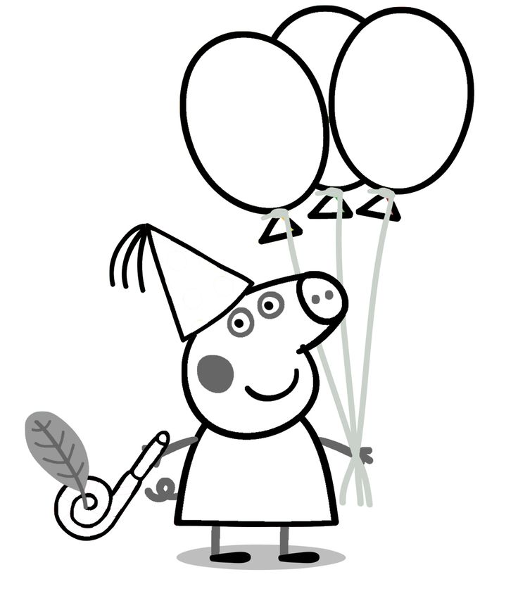 Peppa Pig Birthday Coloring Pages Colour In Page