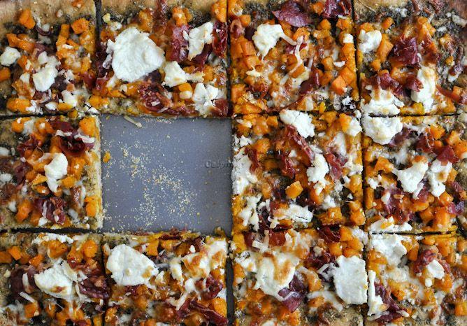 butternut squash, sage pesto pizza! I love her blog