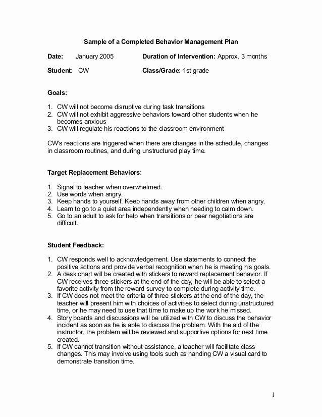 40 Sample Behavior Intervention Plan Behavior Intervention Plan