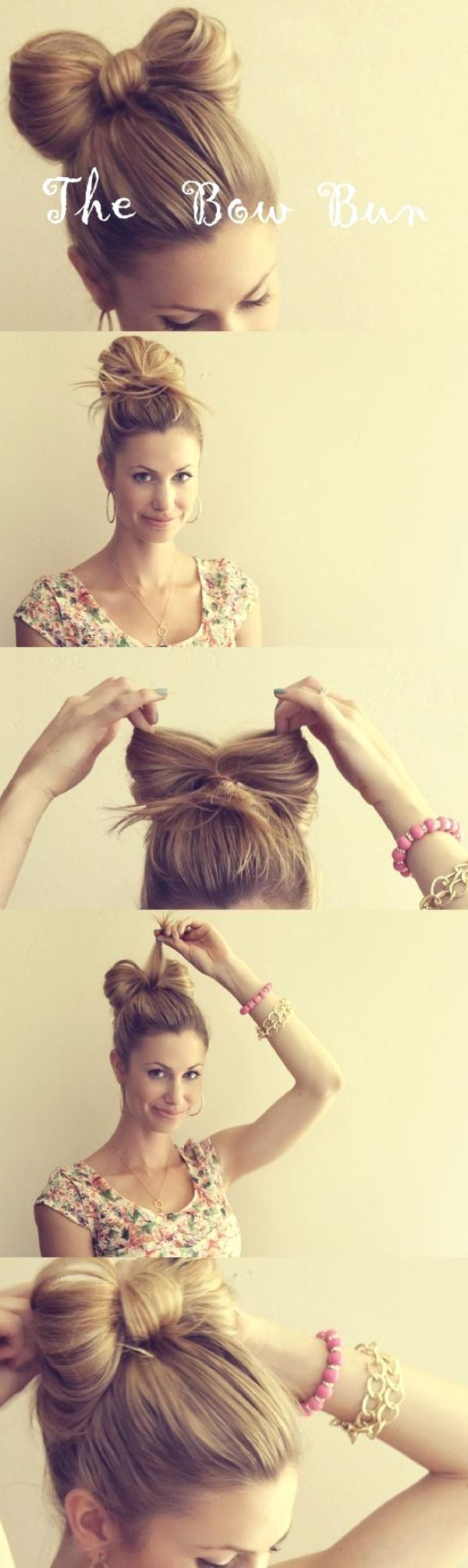 bow top bun. not that I EVER wear my hair up. but this is so super cute! Maybe i'll do it on my girls hair. :):