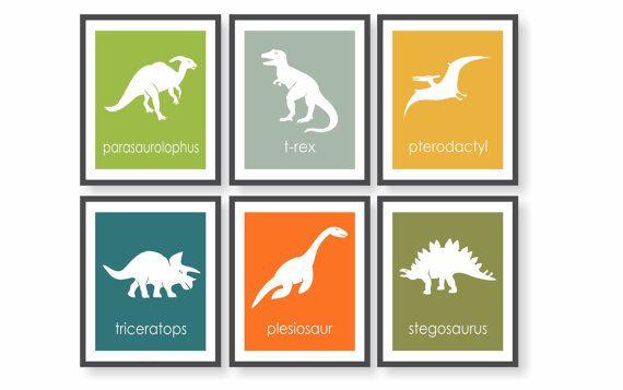 Dinosaur Nursery Art Prints - Triceratops, Trex, Boys Dinosaur Room, Dinosaur Wall Art, Science Nursery, Toddler Wall Art, Dinosaur…