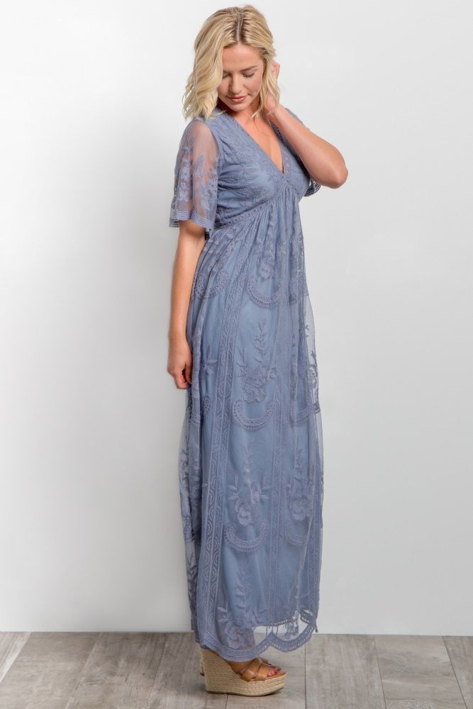 bbedfe5ce1368 Blue Lace Mesh Overlay Maxi Dress in 2019 | what is fashion ...