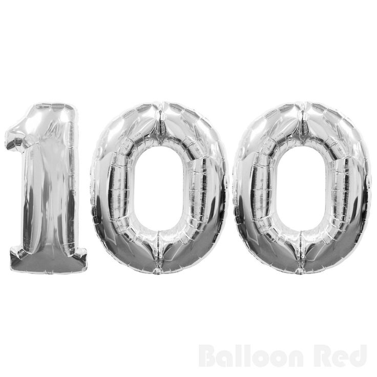 Large Number 100 Silver Balloons 100Th Birthday Anniversary Foil Float Helium