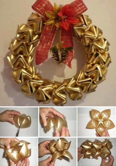 Recycled Plastic Bottle Bottom Christmas Wreath