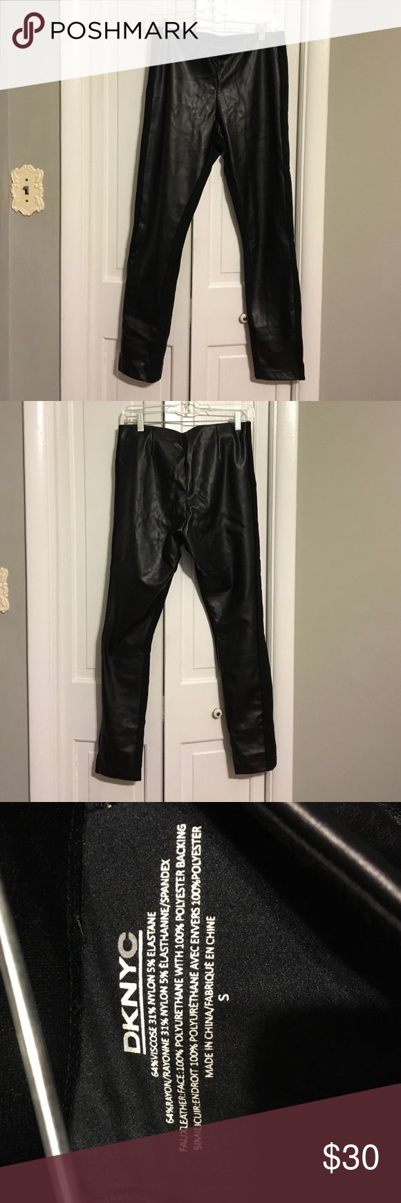 DKNY black faux leather panel leggings size S Like new! Front panels are faux leather with a narrow strip of stretchy material up the sides, which helps them hug your body in all the right spots. Super versatile... and 🔥🔥🔥. Bundle and save 💸🙌🏽👌🏽 DKNYC Pants Leggings