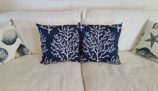 Navy Blue Coral Branch Pillows Handmade.... http://www.completely-coastal.com/2017/01/navy-blue-pillows-for-coastal-style.html