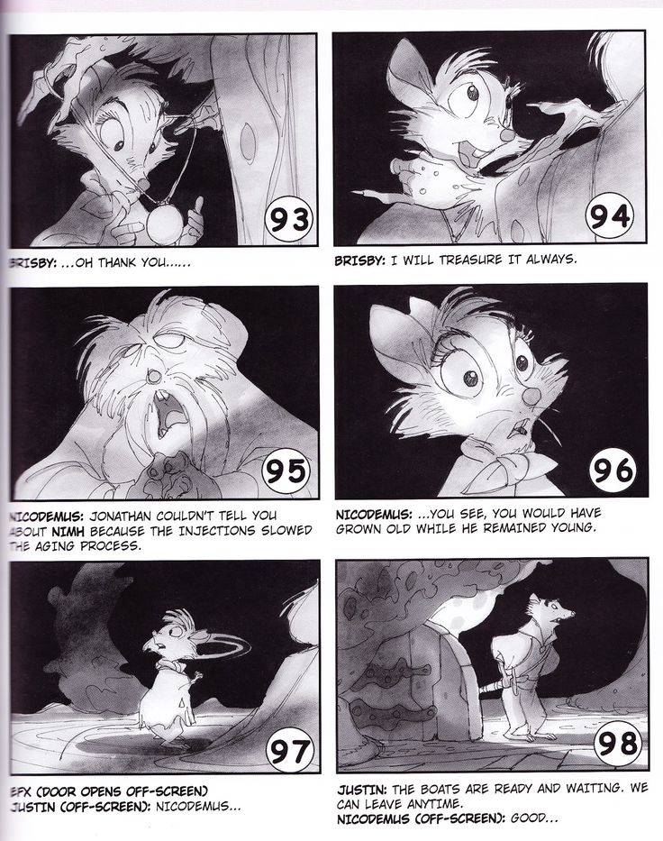 The Secret Of Nimh  Don Bluth Animation    Storyboard
