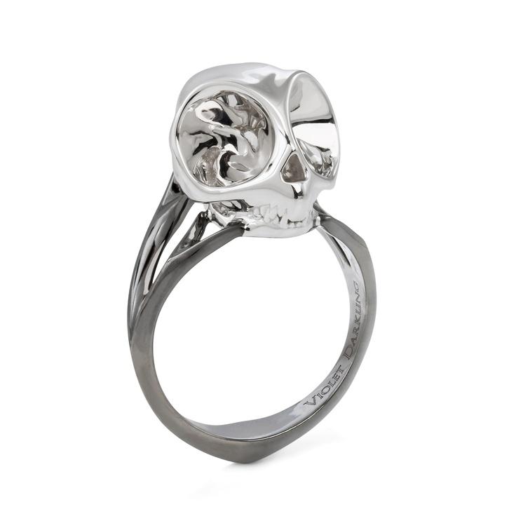 Men's silver Tarsier skull ring with rhodium shank & bow $265