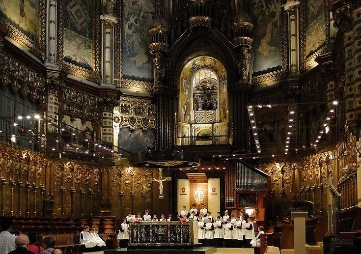 L'Escolania (the boy's choir) in the Basilica of Santa Maria de Montserrat near Barcelona, Catalonia, Spain