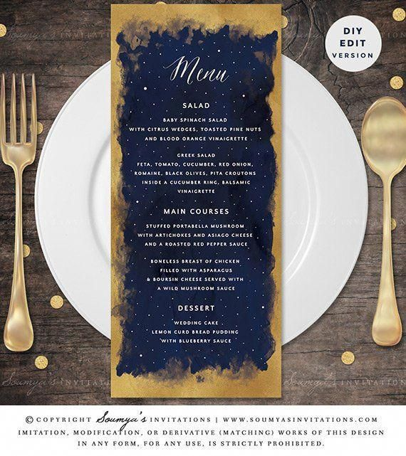 Star Celestial Wedding Menu, Galaxy Starry Night Constellation Wedding Menu, Navy Blue Gold Wedding