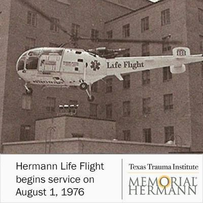 Hermann Life Flight began its service on August 1, 1976 with one Alouette operated by Rocky Mountain Helicopters. #LifeFlight