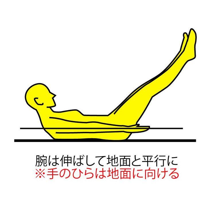■やり方 ※画像参照 1.床に仰向けになり両手両足を真っすぐ伸ばします。  2.両足を揃え斜め45°上に上げます。  3.頭はおヘソを見るように少し上げ、両手は床と平行に、手のひらは床に向けて指先までピンと伸ばします。※画像参照  4.足を上げた状態でゆっくり息を吐いていき、10秒間キープしてゆっくり元に戻ります。  10秒キープ→10秒休憩。 これを5セット行いましょう!  特に道具を必要としない ピラティスのポーズ。  だれでも簡単に挑戦できますので 是非やってみてください♫