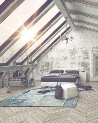 nice Vintage loft-style attic bedroom with wall of skylights.... by http://www.best-100-home-decorpictures.us/attic-bedrooms/vintage-loft-style-attic-bedroom-with-wall-of-skylights/