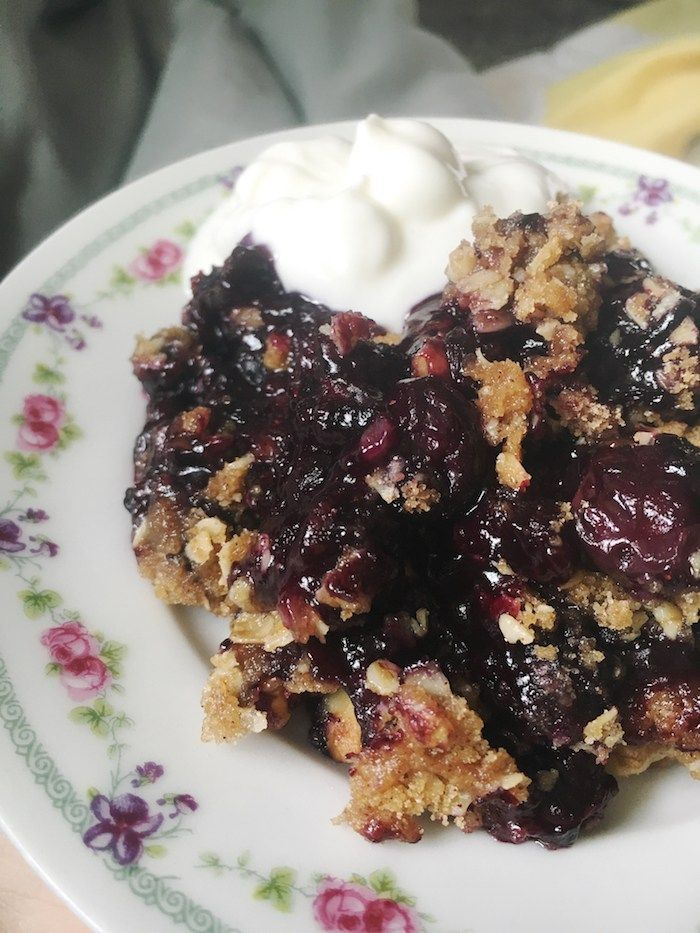 Blueberry Crumble made with Frozen Berries