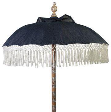 Seaside Denim Umbrella - beach-style - Outdoor Umbrellas - Design to the Trade