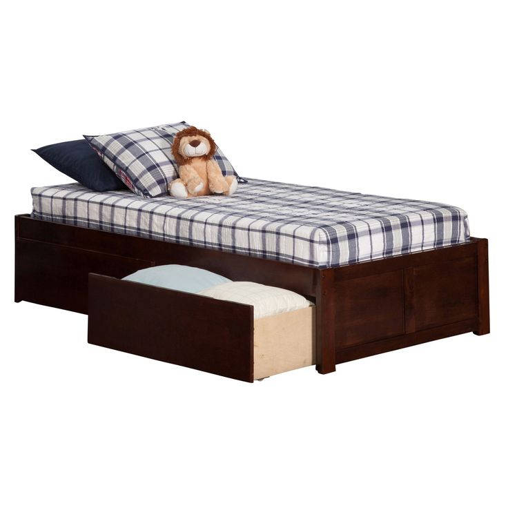 atlantic kids concord walnut twin xl flat panel footboard platform bed with 2 urban