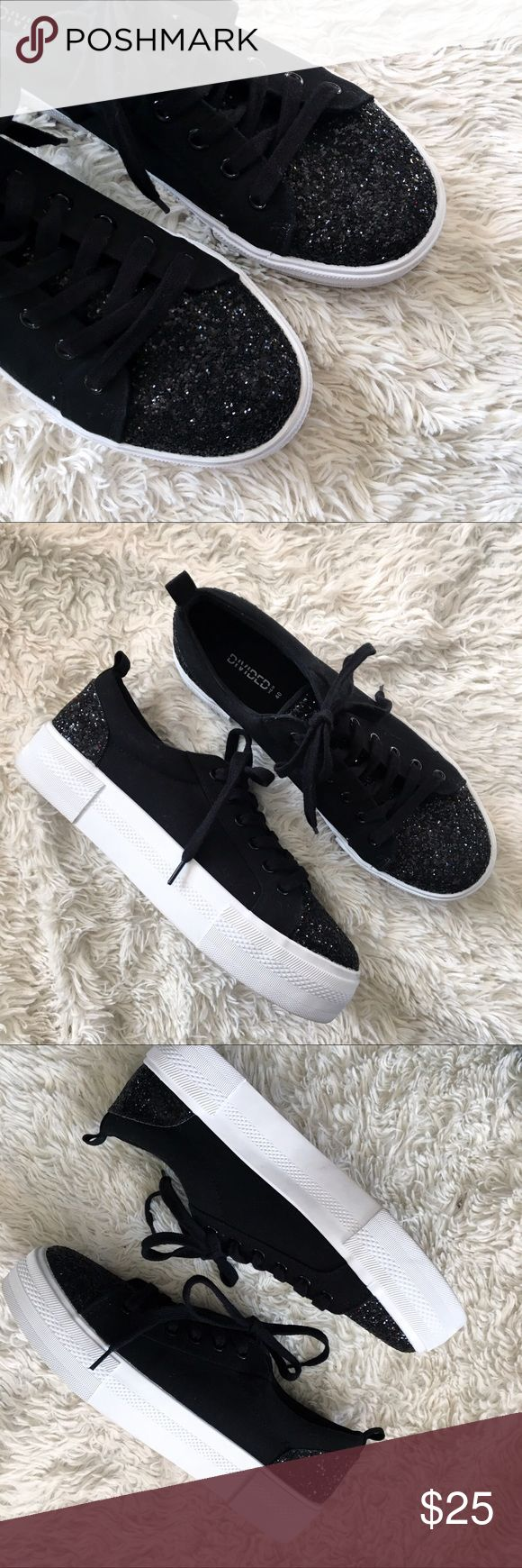 H&M Platform Glitter Sneakers Glitter Platform Tennis Shoes. I'm almost positive these are NWOT. Excellent Condition. Divided (H&M Brand). ✨OFFERS WELCOME✨ H&M Shoes Sneakers