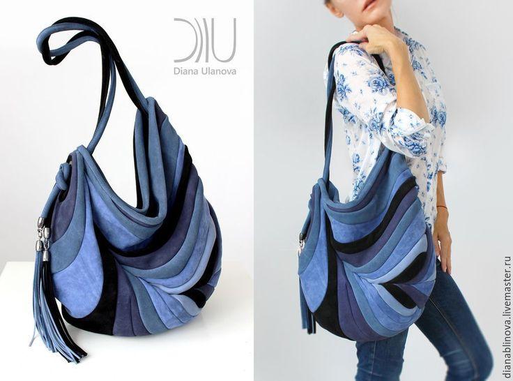 """Купить """"Перо Антик"""" джинсовый - разноцветный, в полоску, сумка кожаная, сумка коричневая, подарок женщине"""