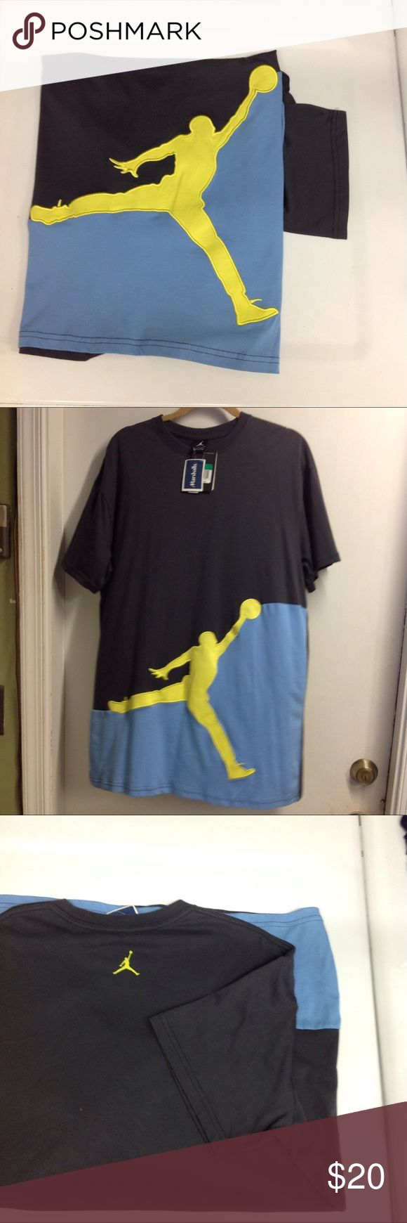 🌼Nike JumpMan Mens Shirt JORDAN SPORT CUT, Excellent Condition, Jordan's famous oversized look.Soft Black, Yellow and Blue (See pictures for measurements. Nike Shirts Tees - Short Sleeve