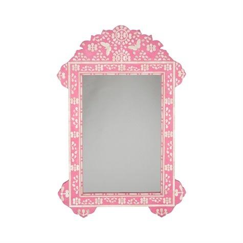 bone inlay mirror - pinkalicious!