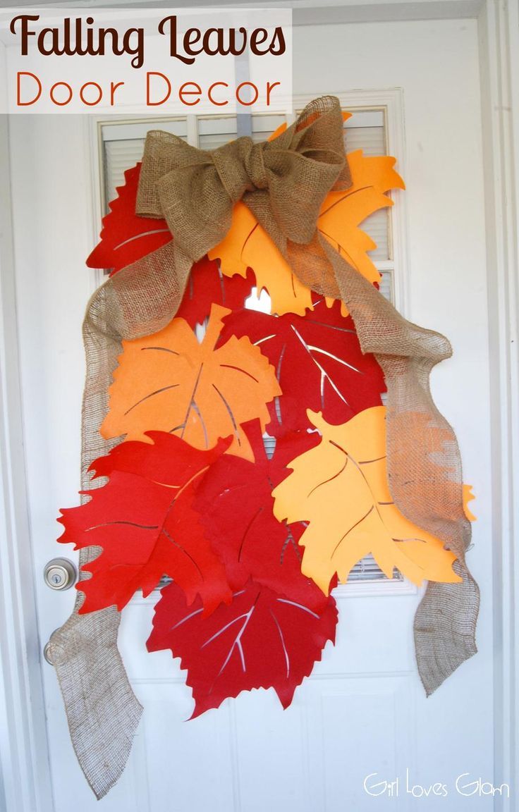 Diy thanksgiving paper decor - Falling Leaves Door Decor Tutorial Fall Diyfalling