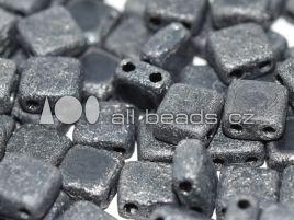 2-hole Squares 6 x 6 mm Jet Etched Hematite