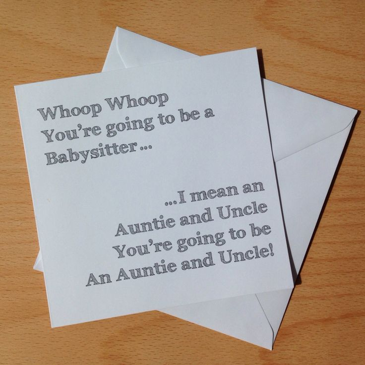 Auntie and Uncle - Whoop whoop You're going to be babysitters... Personalised Pregnancy Announcement Card by ItchyAvocado on Etsy