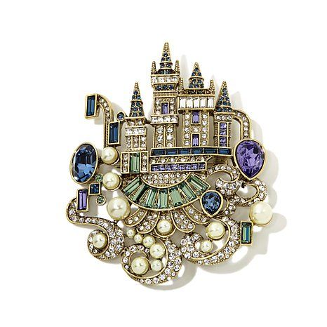 "Heidi Daus ""Enchanted Castle"" Crystal Pin SHOP HSN 2015 THE CINDERELLA COLLECTION"
