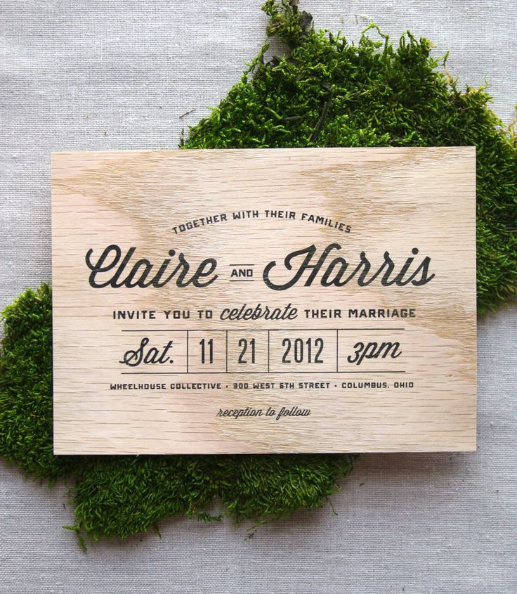 Stacked Type Wooden Wedding Invitation. $6.00, via Etsy.