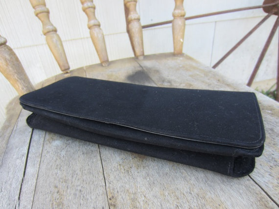 40s Black Velvet Clutch w/ Leather Lining