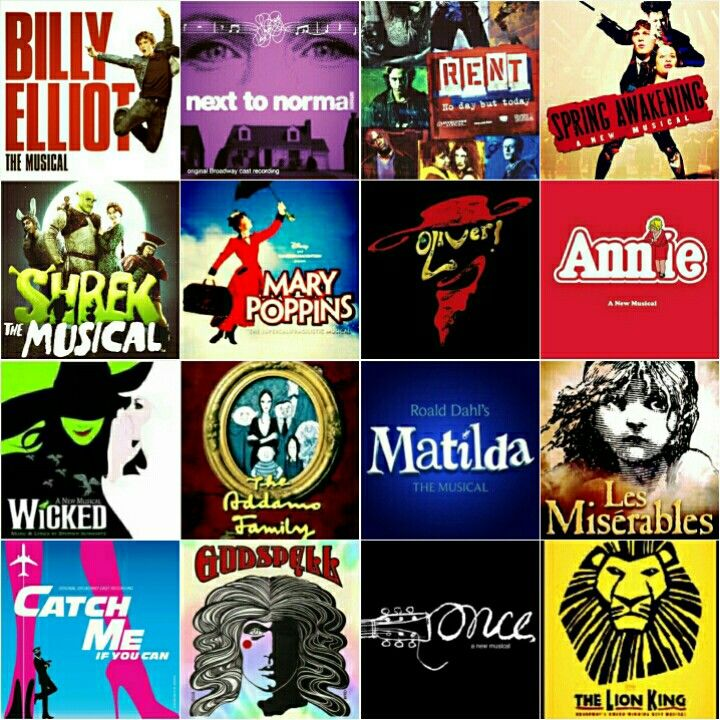 Billy Elliot, Next to Normal, RENT, Spring Awakening, Shrek, Mary Poppins, Oliver, Annie, Wicked, The Addams Family, Matilda, Les Miserables, Catch Me If You Can, Godspell, Once, The Lion King