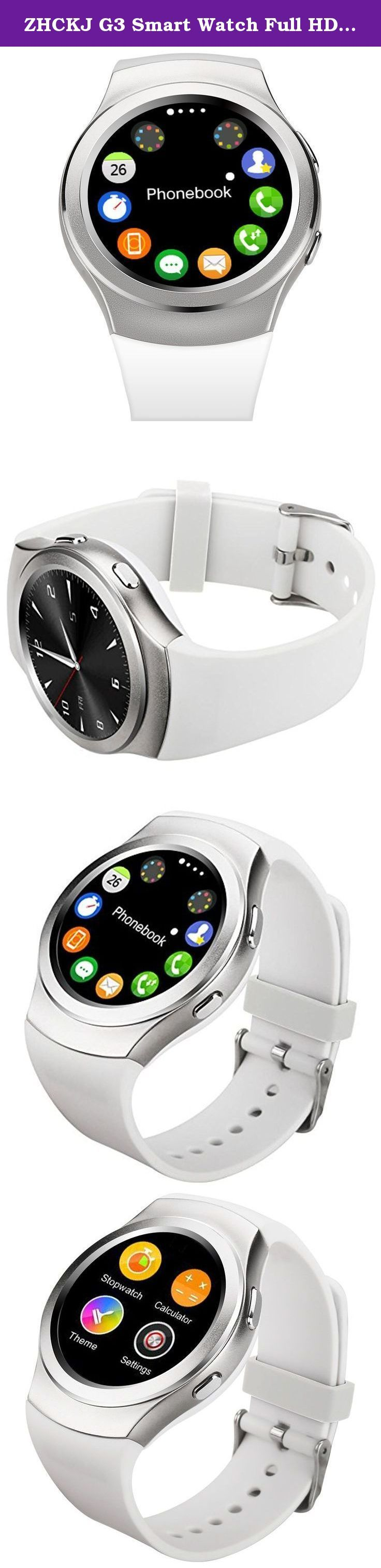 ZHCKJ G3 Smart Watch Full HD Screen SIM TF card Fitness tracker Bluetooth smartwatch For Android IOS samsung. Highlights . 1.3'' IPS Full circular capative touch screen , no black bar . MTK2502 CPU , Fully compatible with Apple iPhone & Android Phone . Support SIM / TF Card Slot , Allow you use the watch independently and download the APPs . Stainless Steel Body + TPU Watchband , Durable and Comfortable . 380mAh Large capacity battery , Long time standby . Magnetic Suction Charging…