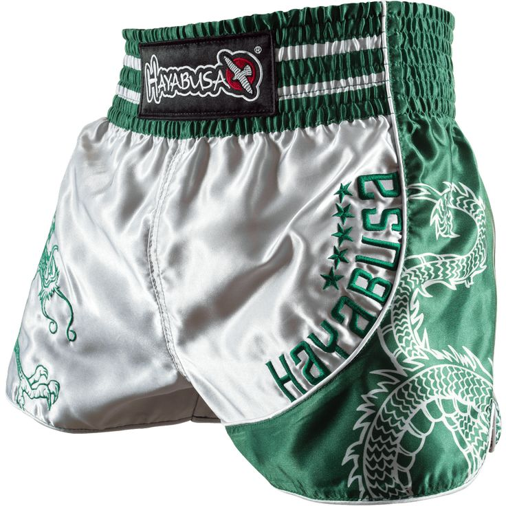 Hayabusa Sacred Muay Thai Shorts - Silver/Green
