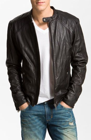 #DIESEL 'Leide' Extra Trim Fit Crinkled Leather Jacket #men #mensfashion #menswear #style #outfit #fashion for more ideas follow me at Pinterest @lgescamilla