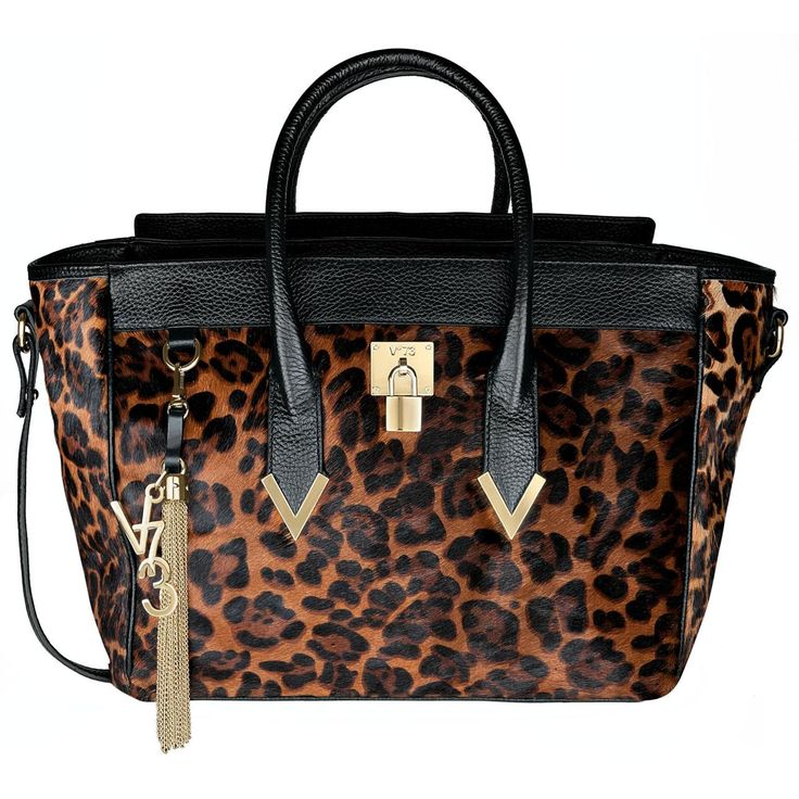 #V73 Elisir Deluxe Leopard Printed Pony Leather Bag with zip closure, Charms shown in photo included, Metal feet at the base 50 x 27 x 18 Shop now: http://www.v73.it/en/pelli-pregiate/elisir-deluxe
