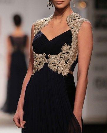 Flowing Velvet Gown with Lace Bodice- Buy Dresses,Rabani & Rakha Wills AW'14,Rabani & Rakha Online | Exclusively.in