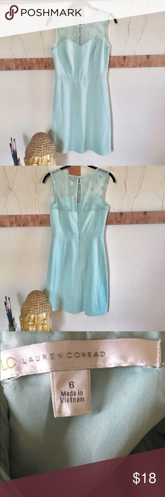 "LC mint Mini Dress Beautiful LC Conrad mint colored dress has Mech polkadot at the top🌻 size 6, 36"" length, 30"" bust✂️ LC Lauren Conrad Dresses Mini"