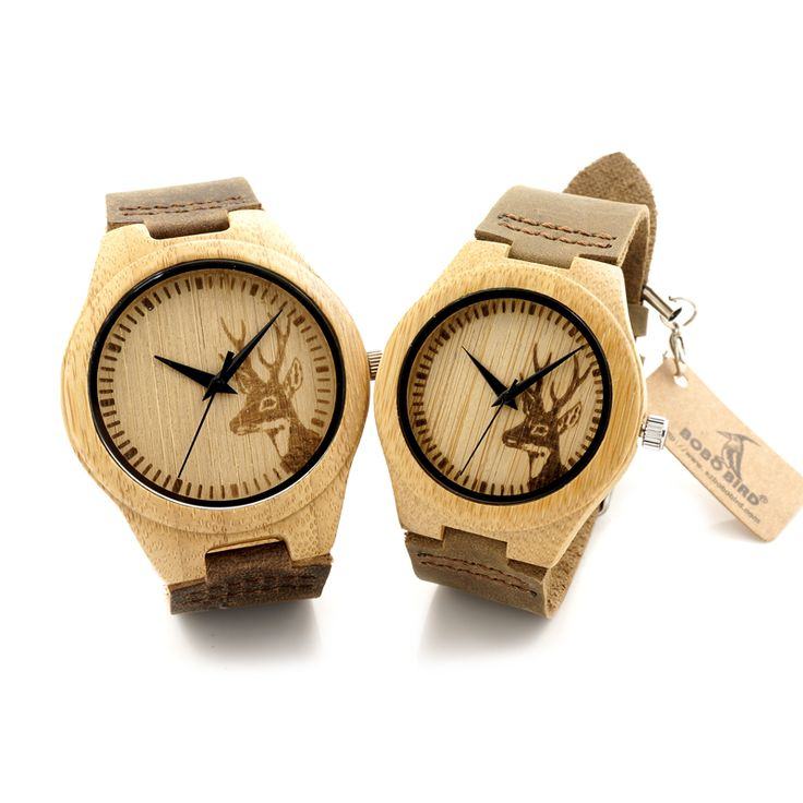 2016 Top Bobobird Brand Lovers Bamboo Watch Engrave Elk Pattern Dial Quartz Real Leather Band Mens Watches With Gift Box Relogio