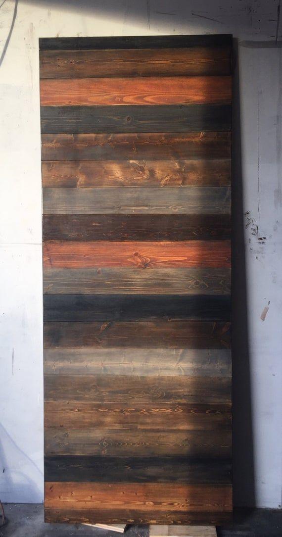 Custom Multi Stain Horizontal Plank Sliding Barn Door Barn Door Barn Style Doors Barn Doors Sliding