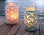 Hand knit lace jar vase... Such a pretty outdoor lighting