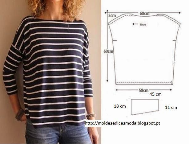 Comfortable and flattering T for fall. Would be cute with contrasting pockets and neckband.