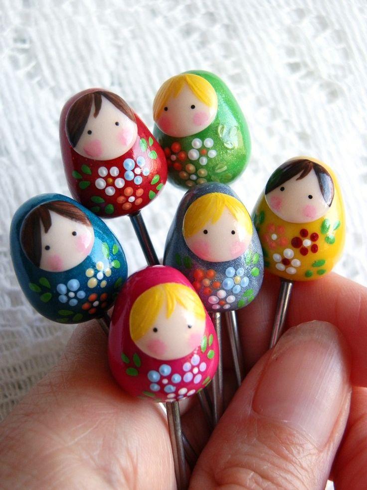 lot de 6 piques apéritifs Poupées Russes Multicolore