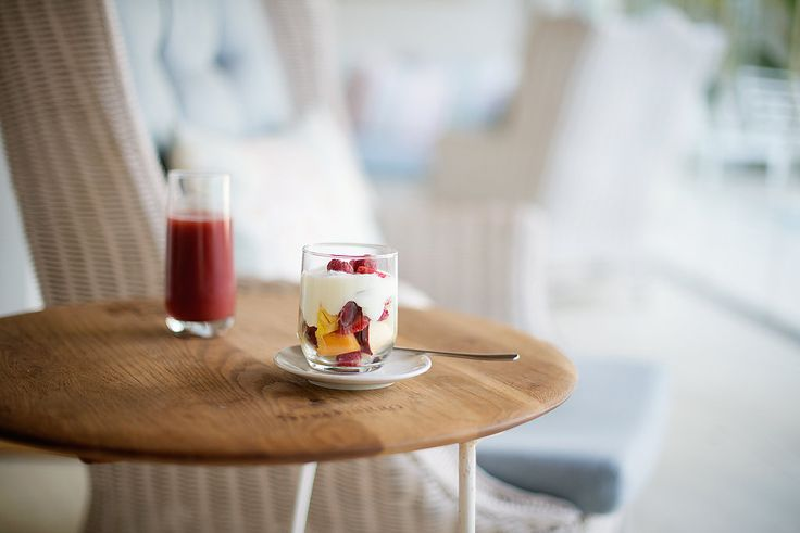 To die for breakfast parfait at The Last Word Franschhoek. Fresh, tropical fruit, double cream yoghurt and fresh strawberry juice to start your day.