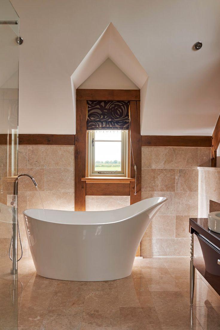 Oak frame bathroom ideas #bathroomideas #oakframe #oakbeams #bathrooms #dream #relax #greenoak
