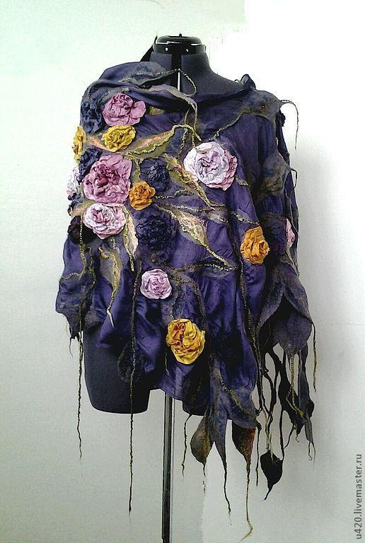 """Nuno feltro varicolored sciarpa scialle poncho feltratura tippet romantico floreale di lana di lusso ha rubato con Rose """"Blues autunnali colori"""""""